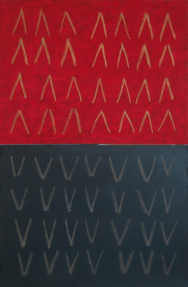 Mountains&Valleys(Red&Black)diptych(2@18x24)2014