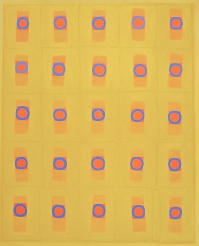 25BlueCirclesOnOrange&Yellow54x44-2017